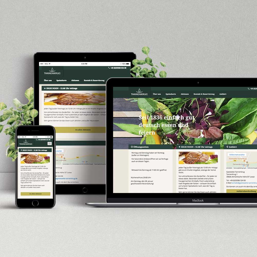 Webdesign & Programmierung Gaststätte Tannenkrug
