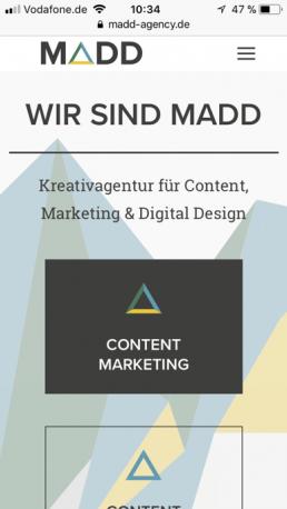 AMP Seiten: Screenshot MADD Agency Webseite